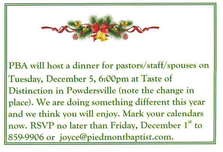 Pastors/Staff/Spouses Christmas Dinner