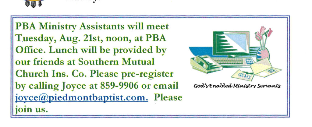 Ministry Assistants Meeting